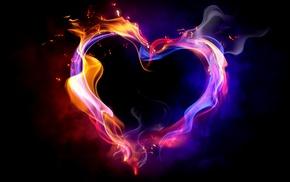 abstract, smoke, hearts