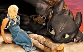 fan art, How to Train Your Dragon, Game of Thrones, Daenerys Targaryen, Toothless