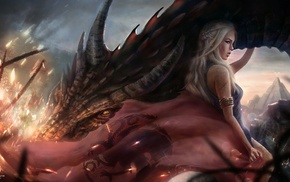 Game of Thrones, dragon, House Targaryen, fantasy art, Daenerys Targaryen, artwork