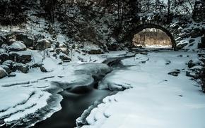 winter, water, branch, bridge, landscape, rock