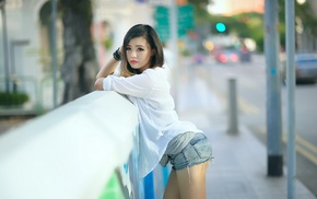 brunette, girl outdoors, jean shorts, girl, ripped clothes, Asian