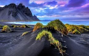 black sand, waves, clouds, sea, landscape, Iceland