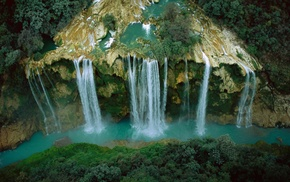waterfall, aerial view, river, nature, cliff, landscape