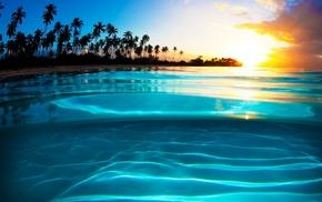 nature, liquid, sunset, yellow, sea, clouds
