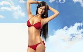 lingerie, Mariana Davalos, Camila Davalos, brunette, model, clouds