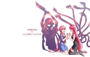 Elfen Lied, Mirai Nikki, anime girls, Gasai Yuno, anime