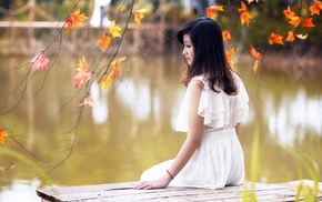 looking away, white dress, fall, Asian, leaves, vietnamese