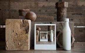 screw, cube, rust, wood, metal, optical illusion