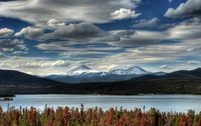 mountain, clouds, lake, fall, landscape, forest