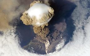 volcano, island, smoke, landscape, clouds, eruptions