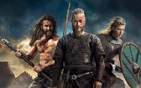 Ragnar Lodbrok, axes, Katheryn Winnick, Travis Fimmel, scars, Vikings TV series