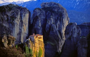 Greece, landscape, nature, sunlight, cliff, mountain
