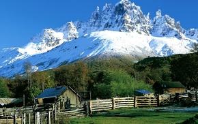 nature, Patagonia, landscape, grass, hut, mountain