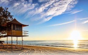 sand, landscape, trees, Australia, beach, sea
