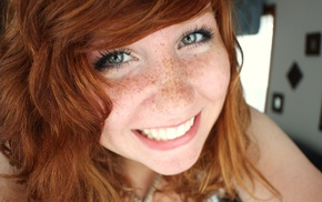 long hair, blue eyes, face, gray eyes, freckles, girl