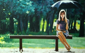 rain, legs, bench, long hair, artwork, girl