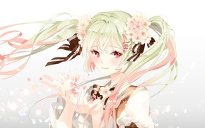 long hair, flower in hair, anime girls, Hatsune Miku, ribbon, anime