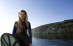 shields, Vikings, blonde, Lagertha Lothbrok, sword, Vikings TV series