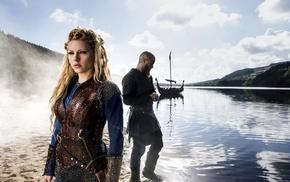Katheryn Winnick, girl, Lagertha Lothbrok, blonde, Vikings TV series, Travis Fimmel
