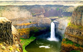 cliff, nature, Palouse Falls, summer, waterfall, erosion