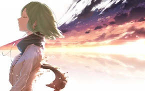 green hair, Vocaloid, scarf, hand on heart, headphones, Megpoid Gumi