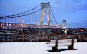New York City, snow, city, bench, bridge