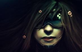 girl, realistic, cyberpunk, face