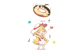 donut, Araragi Koyomi, anime, Oshino Shinobu, chibi, Monogatari Series