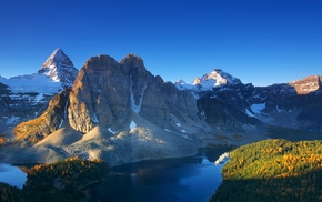 landscape, snowy peak, water, lake, Canada, cliff