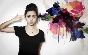 hands on head, girl, colorful, artwork, model