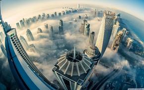 cityscape, building, fisheye lens, clouds, aerial view, Dubai