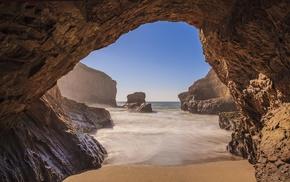 sea, beach, nature, cave, landscape