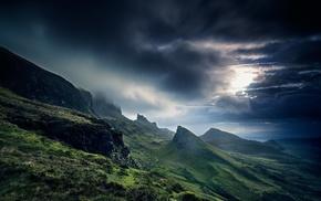 grass, UK, Scotland, hill, landscape, sunrise