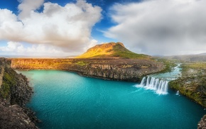 clouds, river, Iceland, hill, water, waterfall