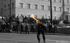 Athens, selective coloring, Greece, protestors, Molotov