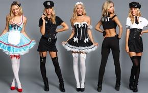 model, sailors, Alexis Ren, high heels, smiling, looking at viewer