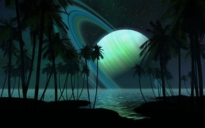 planetary rings, abstract, Digital Blasphemy, planet