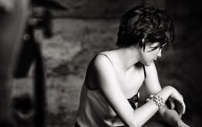 actress, monochrome, Audrey Tautou, short hair, face, girl