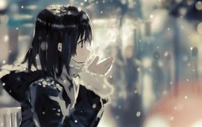 anime girls, anime, cold, short hair, winter