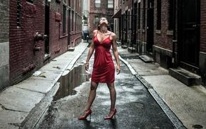 looking up, street, brunette, girl, bricks, stiletto