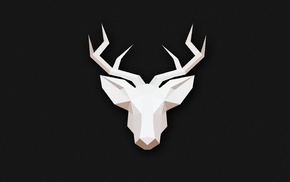 animals, minimalism, low poly, gray, deer
