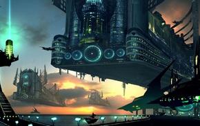 sea, fantasy art, machine, science fiction, digital art, sunset