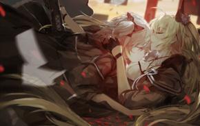 Pixiv Fantasia, twintails, Armeechef, Pixiv Fantasia Fallen Kings, kissing, anime girls