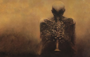 skeleton, Zdzisaw Beksiski, bones, creepy, scarry, skull