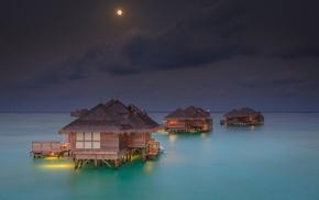 landscape, resort, sea, moon, tropical, beach