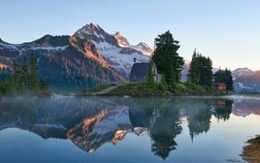lake, mountain, reflection, sunrise, nature, trees