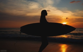 beach, surfing, sunset, people, surfers, Aleksandr Mavrin