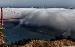 Golden Gate Bridge, mist, San Francisco, bridge