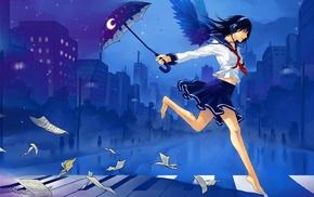 umbrella, skirt, girl, schoolgirls, piano, anime girls