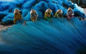Vietnam, girl, vietnamese, fishing, fishing nets